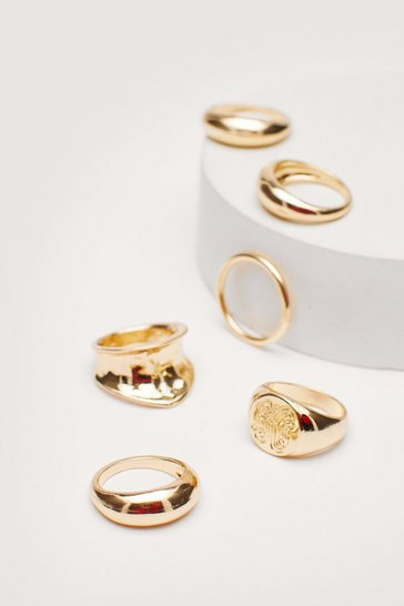 Gold 6 Pc Various Size Chunky Ring Set
