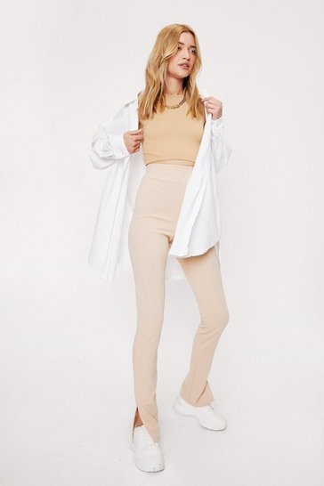 Stone High Waisted Split Hem Leggings