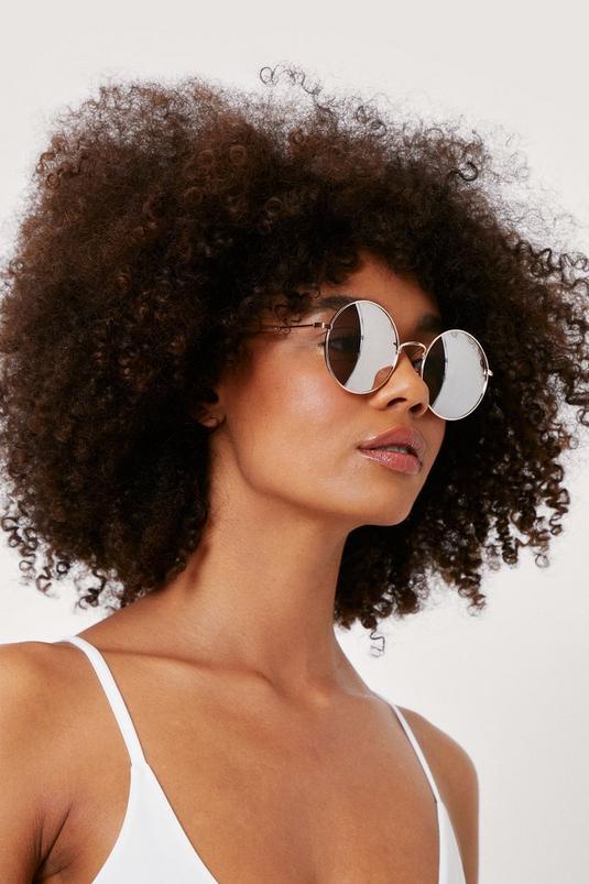 Tinted Oversized Round Sunglasses   NastyGal