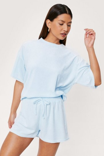 Pale blue Towelling High Waisted Drawstring Waist Shorts