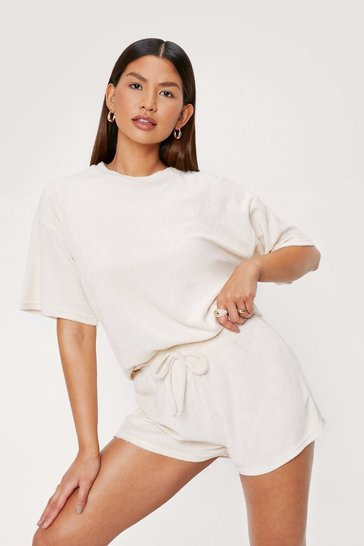 Stone Towelling Oversized Beach Cover Up Top