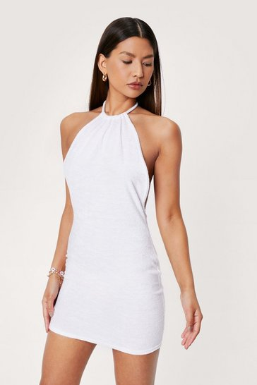 White Towelling Ruched Halter Mini Beach Cover Up Dress