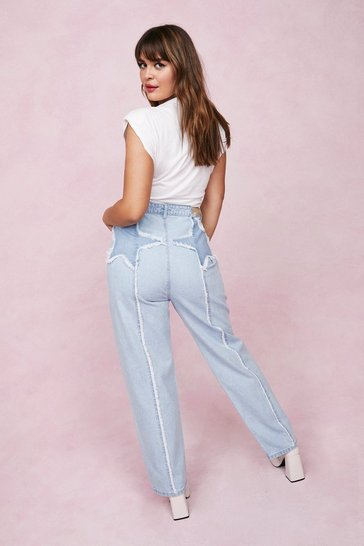 Blue Plus Size Star Design High Waisted Jeans