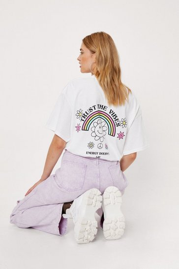 White Trust the Vibes Graphic Back T-Shirt