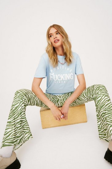 Baby blue Positive Fucking Vibes Relaxed Graphic T-Shirt