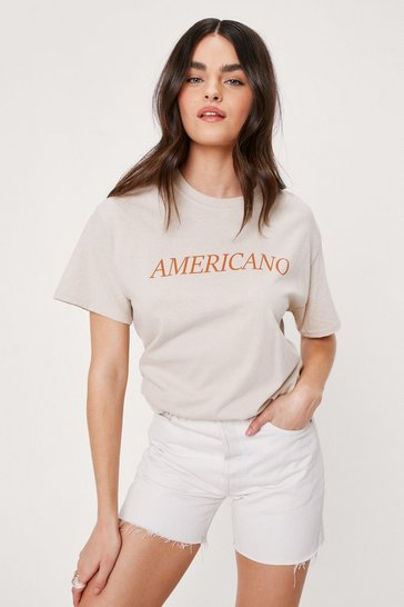 Sand Americano Short Sleeve Graphic T-Shirt