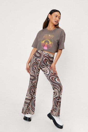 Chocolate Petite High Waisted Marble Print Flare Pants
