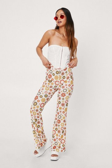 Cream Petite High Waisted Floral Print Flare Pants