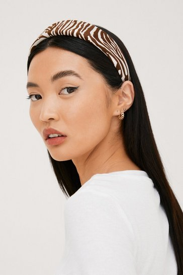 Brown Wide Structured Zebra Print Headband