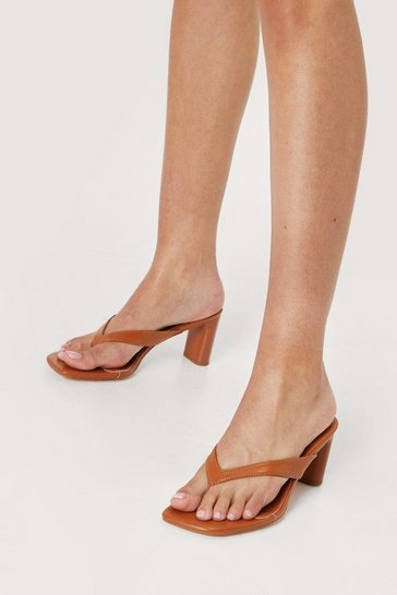 Camel Faux Leather Toe Thong Block Heel Mules