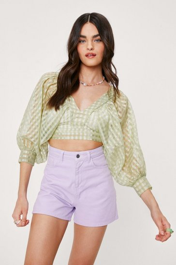 Crop top semi-transparent à manches bouffantes et imprimé vichy, Green