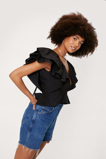 Black Ruffle Layered V Neck Blouse