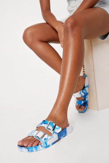 Light blue Tie Dye Print Open Toe Buckle Sandals