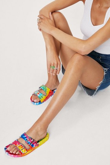 Multi Tie Dye Print Open Toe Buckle Sandals