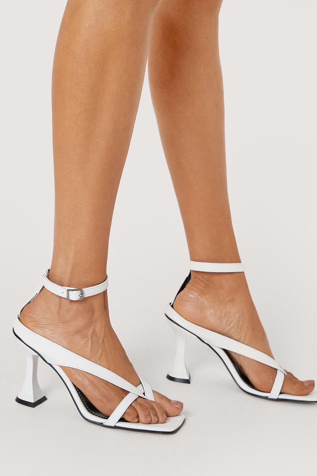 Faux Leather Toe Thong Flare Stiletto Heels | Nasty Gal