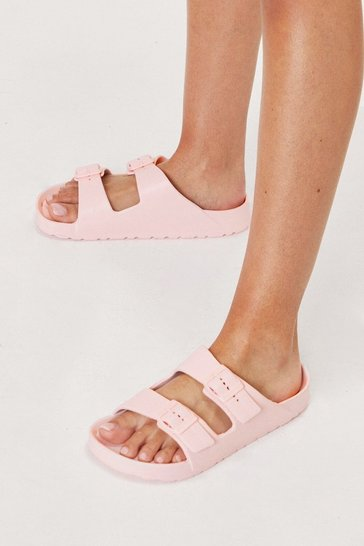 Pink Textured Rubberized Double Buckle Sandals
