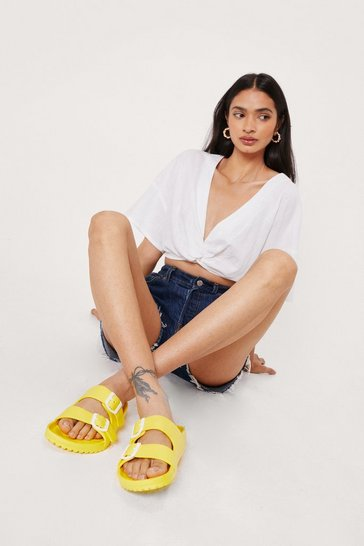 Yellow Textured Rubberized Double Buckle Sandals