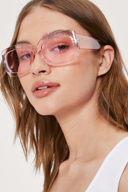Rectangle Oversized Clear Sunglasses   NastyGal