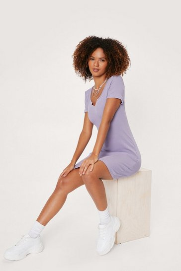 Lilac Notched Bodycon T-Shirt Mini Dress