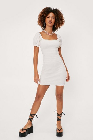 Cream Puff Sleeve Bodycon Mini Dress