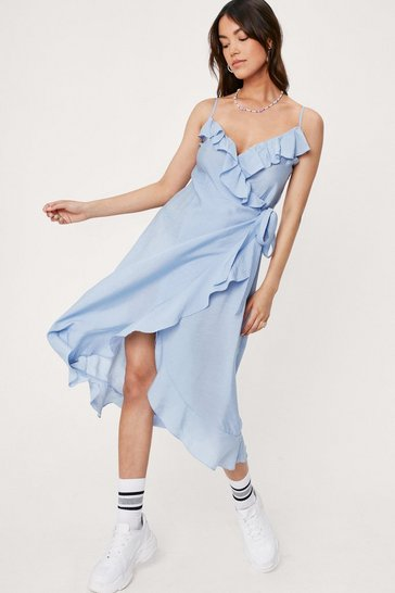 Blue Ruffle Detail Wrap Tie Side Midi Dress