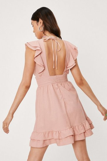 Dusky pink V Neck Ruffle Detail Mini Dress