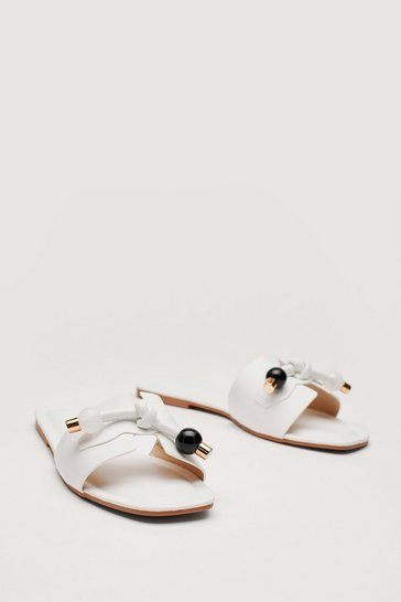 White Faux Leather Open Toe Tie Flat Sandals