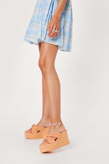 Peach Suede Twisted Espadrille Wedges