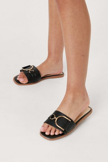 Black Faux Leather Open Toe Buckle Flat Sandals