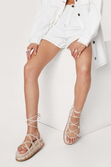 Nude Faux Leather Strappy Woven Heel Sandals