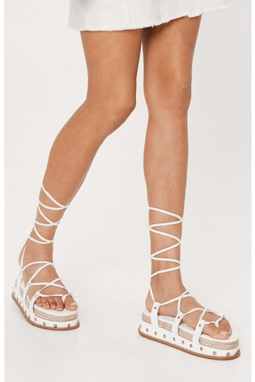 White Faux Leather Lace Up Caged Chunky Platform Sandals