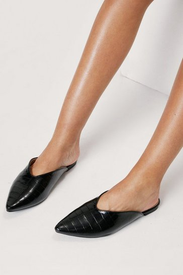 Black Faux Leather Croc Pointed Toe Loafers