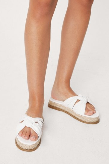 White Faux Leather Twisted Woven Sandals