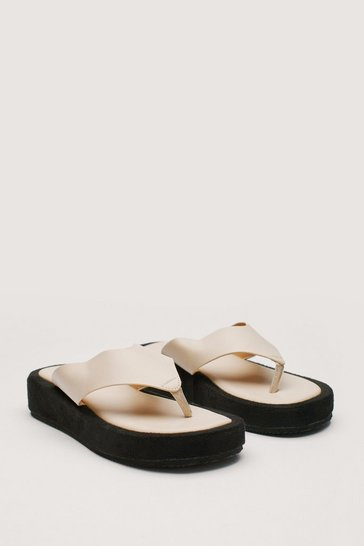 Beige Faux Leather Toe Thong Flatform Sandals