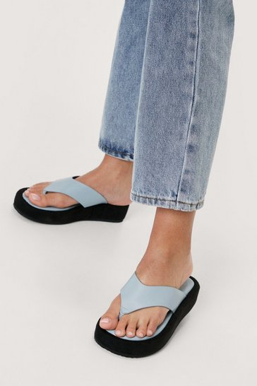 Blue Faux Leather Toe Thong Flatform Sandals