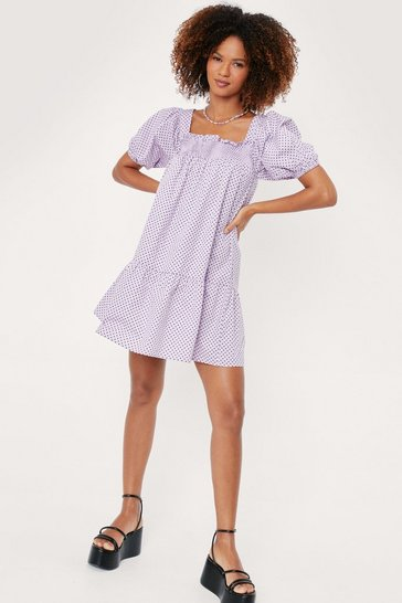 Lilac Polka Dot Square Neck Smock Mini Dress