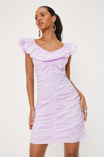 Lilac Ruched Ruffle Poplin Bodycon Mini Dress