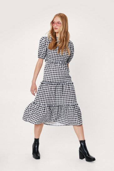 Black Gingham Print Open Back Midi Dress