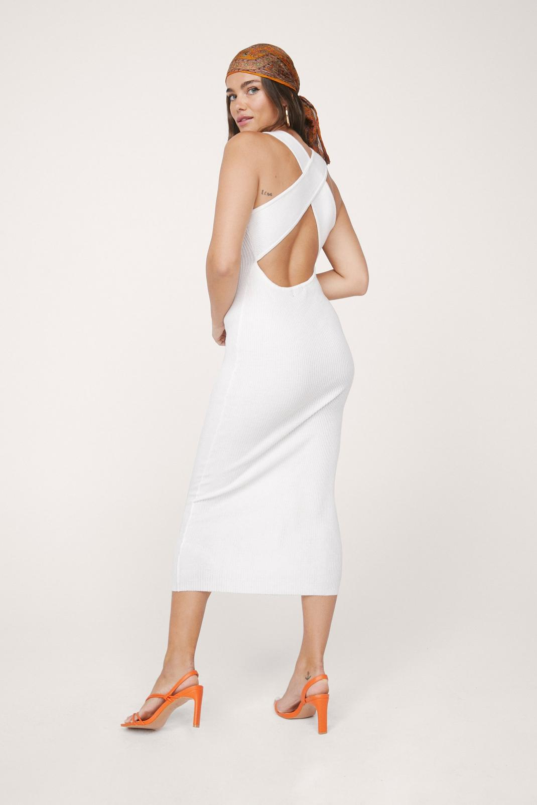 Knitted Sleeveless Cross Back Midi Dress | Nasty Gal