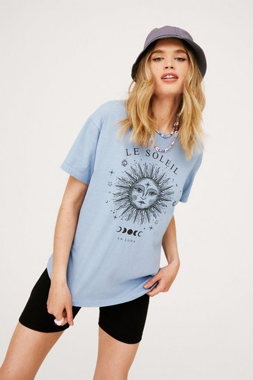 Blue Acid Wash Le Soleil Relaxed Graphic T-Shirt