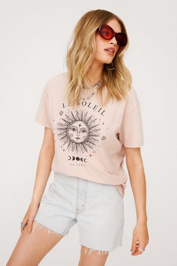 Taupe Acid Wash Le Soleil Relaxed Graphic T-Shirt