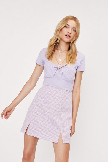 Lilac Tie Front Cut Out Puff Sleeve Crop Top