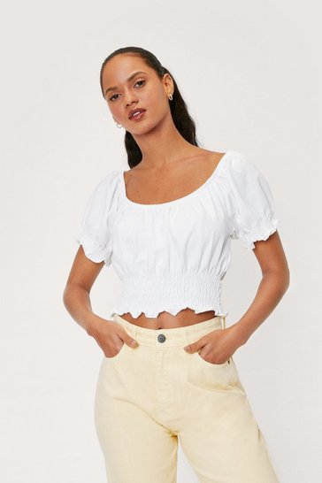 White Puff Sleeve Shirred Ruffle Crop Top