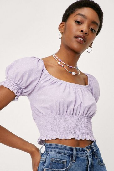 Lilac Spotty Print Puff Sleeve Shirred Crop Top