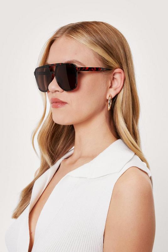 Tort T Bar Aviator Oversized Sunglasses   NastyGal