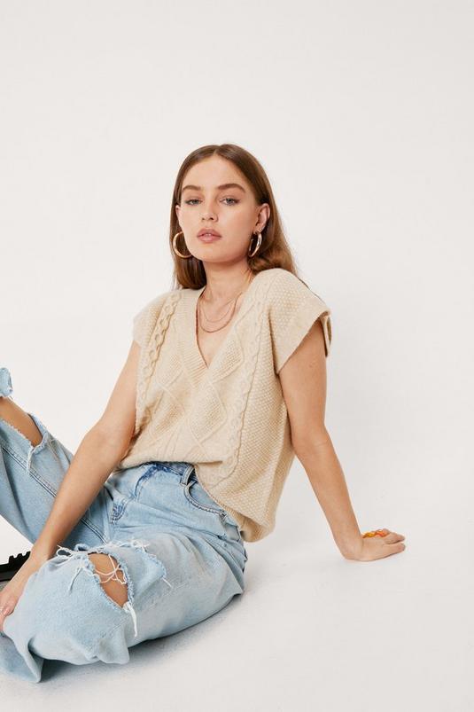 Cable Knit Sleeveless V Neck Sweater Vest | NastyGal