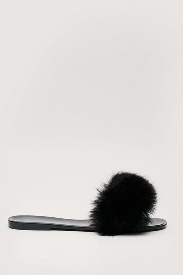 Black Faux Fur Slip On Flat Sliders