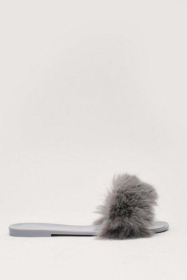 Grey Faux Fur Slip On Flat Sliders