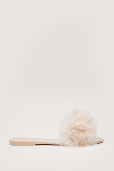 Nude Faux Fur Slip On Flat Sliders