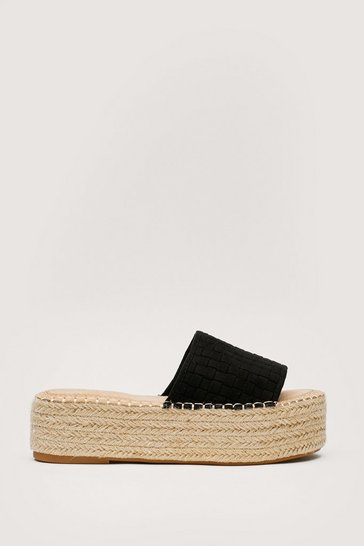 Black Faux Suede Woven Flatform Sandals